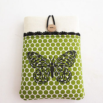 Butterfly Ipad mini case, Ipad mini cover, Ipad mini sleeve with pocket-Polka dots.