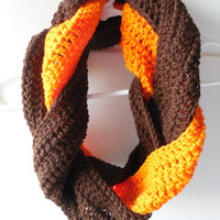 Braided Brown and Orange - Infinity Scarf