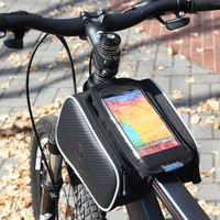 Roswheel Cycling Road Mountain Bike Bicycle Front Top Tube Frame Pannier Double Bag Pouch for 5.5in Cellphone 1.8L  H10476 (Color: Black) = 1652214340