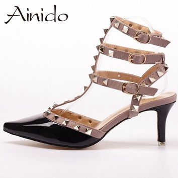 New Sexy Studded Fashion Women Shoes Mid/ High Heels Pumps Woman Black White Red Pink Rose