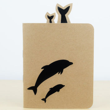 Dolphin Silhouette Notebook - Small notebook, Stationery, Journal, Notepad, Notebook journal, Cute notebook, Dolphin gift, Animal lovers