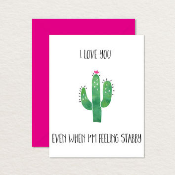 Printable Love Card / A2 Cactus Card / Relationship Card / Funny Love Card / Funny Friendship Card / Best Friend Card / Anniversary Card