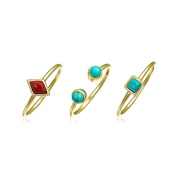 Red Turquoise 14K Gold Plate Sterling Silver Midi Knuckle Ring Set 1MM