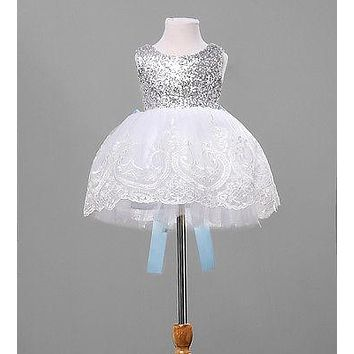 Baby Kids Girl Clothing Dresses Bowknot Lace Floral XMAS Party Formal Bridesmaid Ball Cute Girls Dress New Arriving