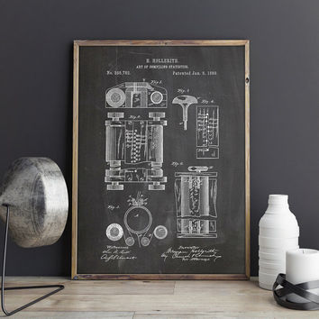 Hollerith Machine, Computer Poster, Hollerith Poster, First Computer, Eek Patent, Geek Poster, Statistics, Nerd Poster,Art, INSTANT DOWNLOAD