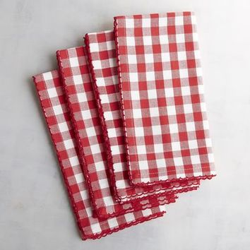 Bold Gingham Red Napkin Set