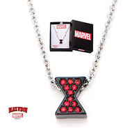 Women's Black Stainless Steel Black Widow Logo with Red Cubic Zirconia Gems Necklace