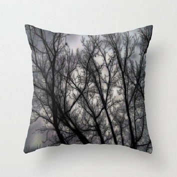 Haunted, black, grey, trees, nature, spooky - Decorative Throw Pillow Cover, 3 Sizes Available - Home, Newlyweds, Gift - Made To Order-H#07