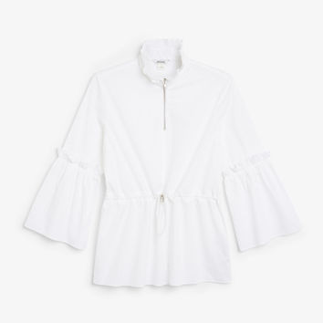 High neck trumpet sleeve blouse - Wondrous white - Tops - Monki GB