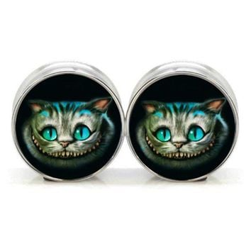 ac DCCKO2Q 1 pair plugs stainless steel Cheshire cat double flare ear plug gauges tunnel body piercing jewelry PSP0022