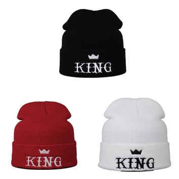 Embroidered King Beanie Hats for Men