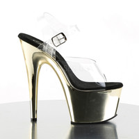 "Adore 708CH Clear Ankle Strap Upper & 7"" Chrome Platform Heel- Gold"