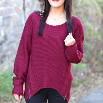 Zip Me Up Sweater {Burgundy}