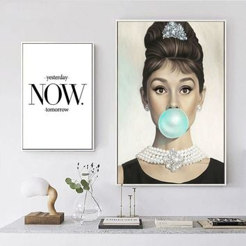 hot sales Audrey Hepburn Woman Nordic Posters and Prints Art Canvas Painting Modern wall art Wall Pictures For Living Room