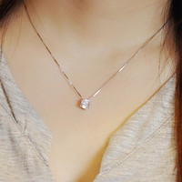925 Sterling Silver Jewelry  AAA Zircon CZ Diamond Necklace