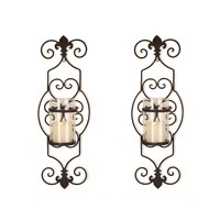 Iron and Glass Vertical Wall Hanging Candle Holder Sconce (Set of 2)