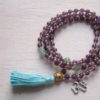 108 Mala Beads, Amethyst and Aventurine with Sterling Silver OM, purple and green, yoga necklace, prayer beads