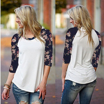 Women's Fashion Floral Patchwork Long Sleeve Round-neck T-shirts [6341432452]
