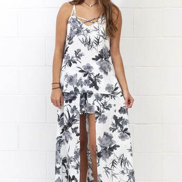 Tropical Floral Caped / Skirted Shorts {Charcoal Mix}