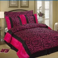 7pc Full / Queen Faux Silk and Flocking Printing Black / Pink Zebra Comforter Set with a Pair of Slippers Bedding-in-a-bag