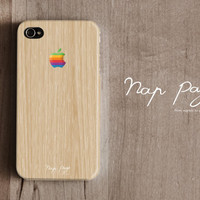 iPhone 4 case , iPhone 4s case and iPhone 3gs case mobile Case handmade : iphone wood pattern case with Apple logo (Not Real Wood)