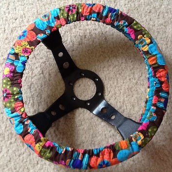 Multi color flower print fabric steering wheel cover