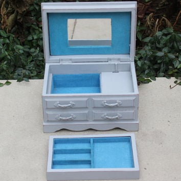 Vintage Musical Jewelry Box - Grey and blue wood jewelry box, painted jewelry box