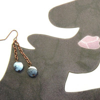 Blue Crackled Agate Dangle Earrings