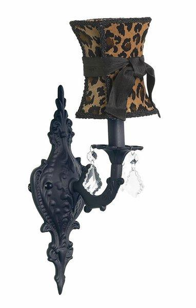 Black Scroll Wall Sconce with Leopard Hourglass Shade by Jubilee Collection, Wall Sconces, Lighting for Girls