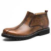 Men Genuine Leather Stylish Vintage Side Zipper Casual Ankle Boots