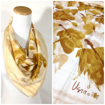 Vintage Vera Neumann Scarf Abstract Floral Falling Leaf design Golden Brown & Cream Lucky Ladybug signature Womens Fashion Designer Scarf