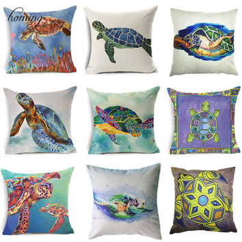 Cute&Lovely Cotton Linen Pillow Case Sea Pillow Case 18x18 inches Animal Turtle Waist Throw Pillow Cover