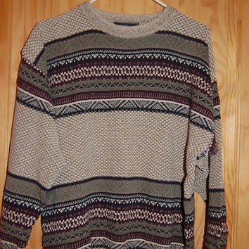Vintage 80s 90s Oversize Woods & Gray Crewneck Tribal Fair Isle Sweater Mens Size Large