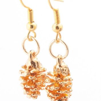 Real Gold leaf Earrings Pine Cone - Small