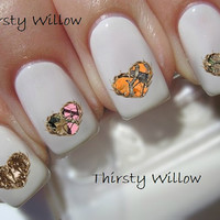 Camo Deer Antler Heart Nail Decals