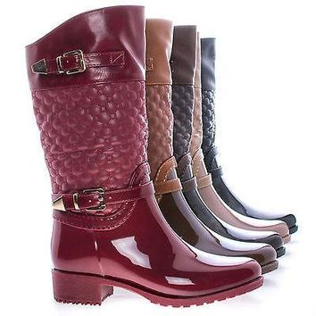 Fatima27K By Link, Children Girls Mid Calf Quilted Buckled Shaft Rain Boots