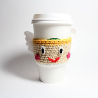 Coffee cozy cupid- Valentines Day crochet cup sleeve