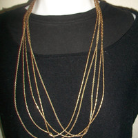 Vintage Monet 5 Strand Necklace Multi Strand Gold Tone Signed Costume Jewelry