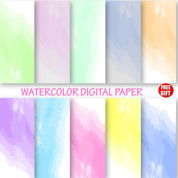 Watercolor Digital Paper, Watercolor Wallpaper, ombre DIY watercolor backgrounds for digital use and print. Color Baby shower gift wrapping