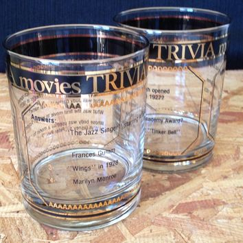 Culver Movies Trivia Old Fashioned Glasses, Pair