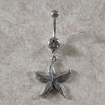 Navel Ring Starfish Body Jewelry Navel Piercing 14 ga Surgical Steel