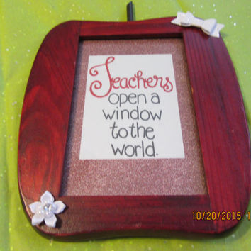 Wooden Apple Picture Frame With Two Teacher Sayings Included - Cottage Chic and Blinged