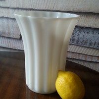 Large Milk Glass White Flower Vase, Fluted Vase, FREE US Shipping