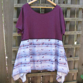 Upcycled Plus Size Purple Lagenlook Tunic Shirt/ Funky Asymmetrical Eco Blouse/ Hi Lo Womens Tops XL XXL