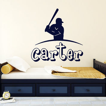 Baseball Name Wall Decal Boy Custom Personalized Boys Name Decor Vinyl Decal Baseball Kids Teens Boys Room Sports Wall Decal Nursery T71
