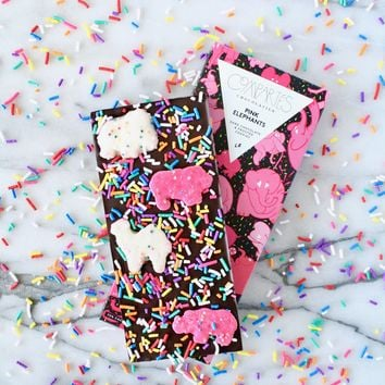 Animal Cookies Dark Chocolate Bar Pink Elephants