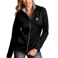 Antigua Miami Dolphins Women's Black Leader Desert Dry Full-Zip Jacket