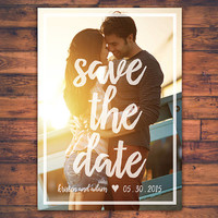 Personalize Photo Save The Date Wedding Invitation Card Romantic Minimal Modern Digital Print Printable Files Invite Card