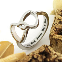 "Couples Ring Double Hearts Lovers Promise Ring Wedding Ring ""My Heart Forever Next To Yours"""