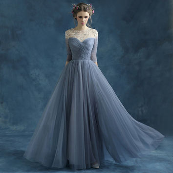 Grey Blue maxi evening dress prom dress bridesmaid dress tulle dress homecoming dress